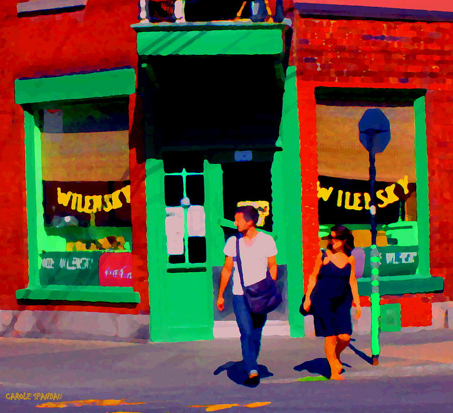 Montreal Painting - After Lunch At Wilenskys Restaurant Crossing Fairmount Montreal Street Scene Art Carole Spandau by Carole Spandau