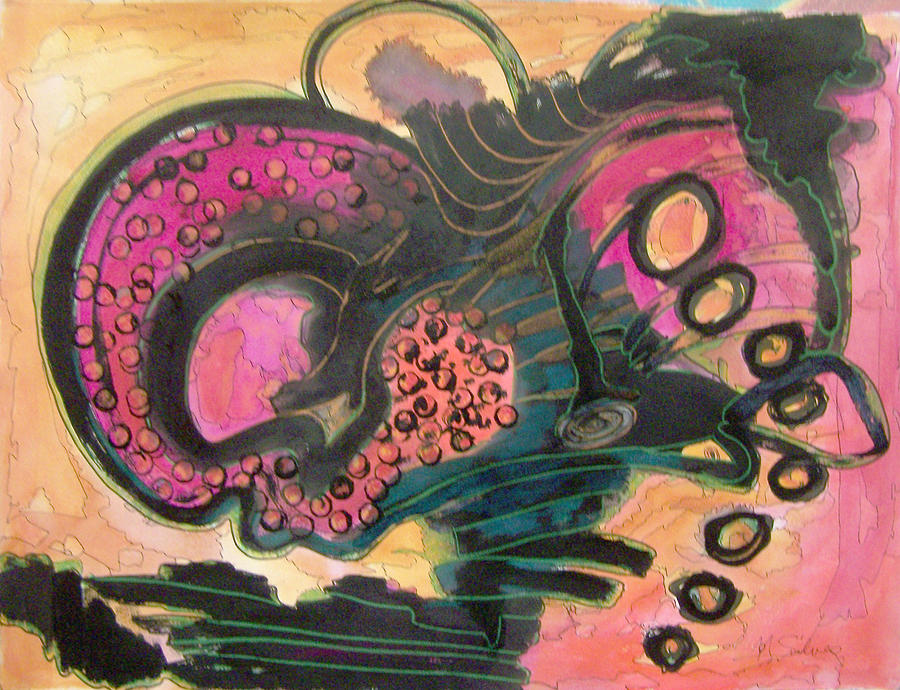 Magenta Painting - After Midnight by MtnWoman Silver
