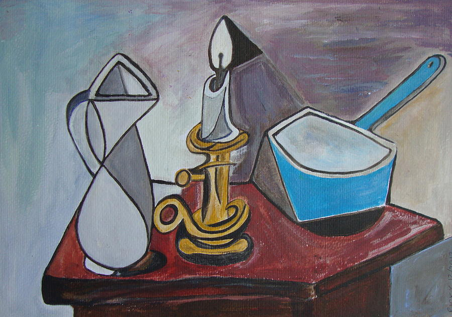 Still Life Painting - After Picasso Still Life With Casserole by Veronica Rickard