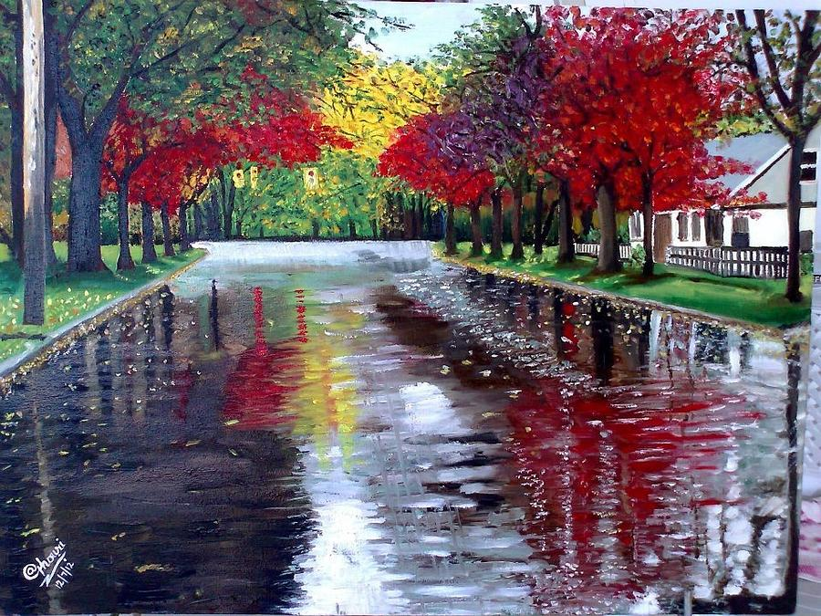 Landscape Painting - After Rain by A Ghouri