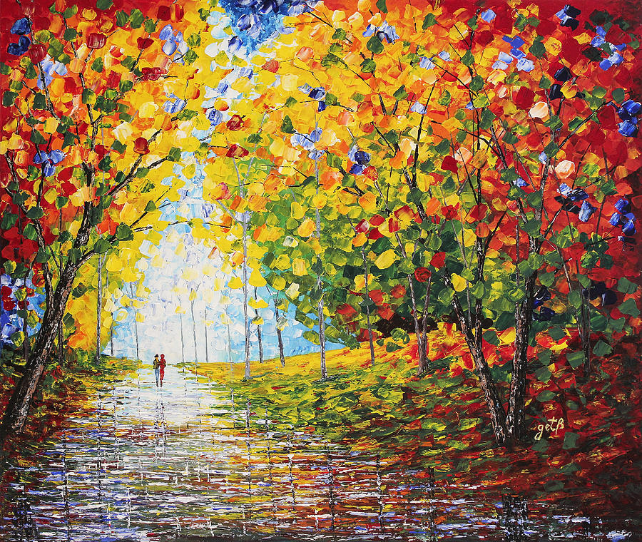 Autumn Colors Painting - After Rain Autumn Reflections Acrylic Palette Knife Painting by Georgeta Blanaru