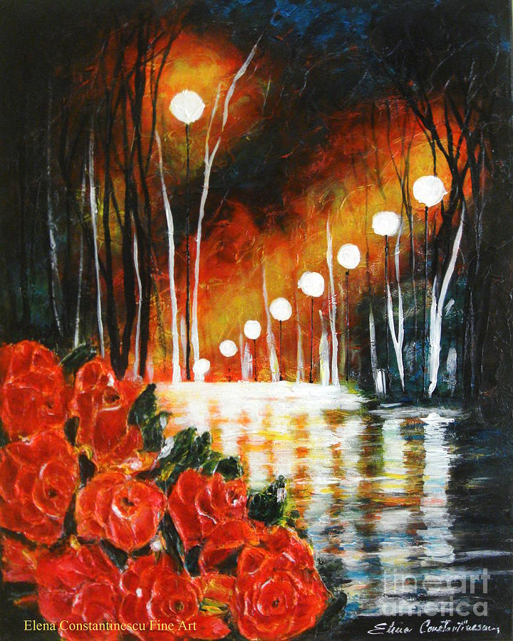 Roses Painting - After Rain by Elena  Constantinescu