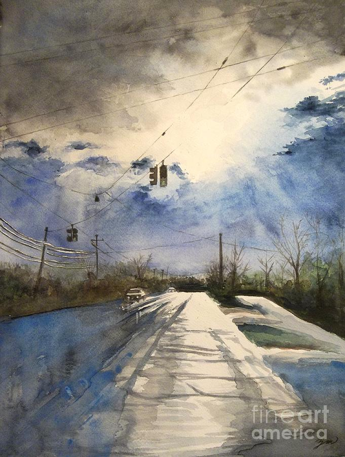 Road Painting - After Rain -on The Michigan Ave. Saline Michigan by Yoshiko Mishina