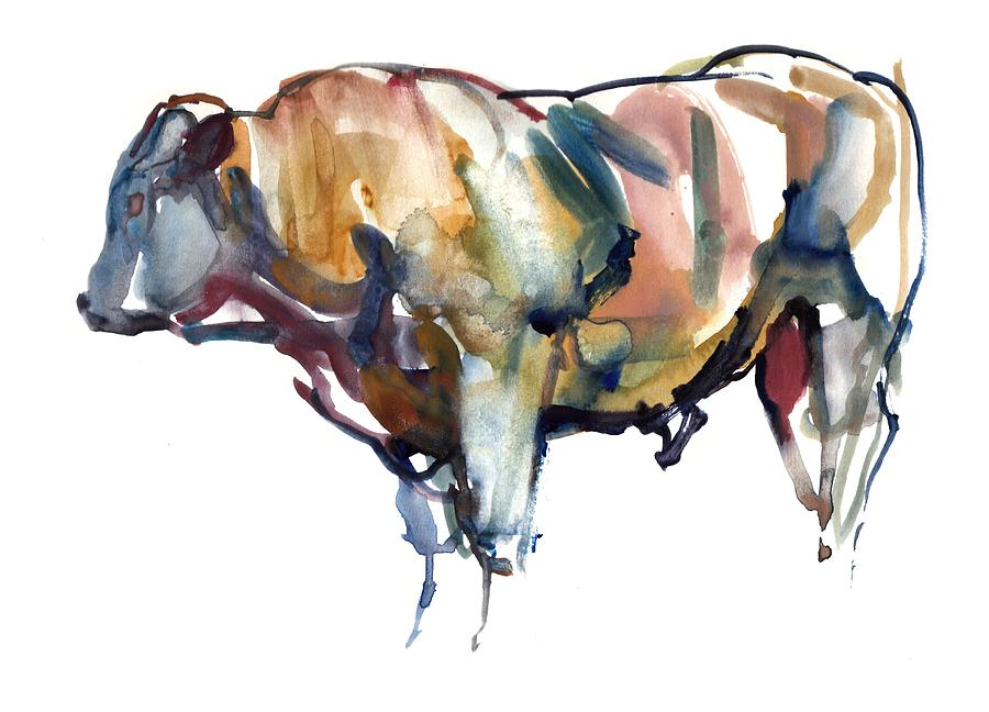 Bull Painting - After Sunset by Mark Adlington