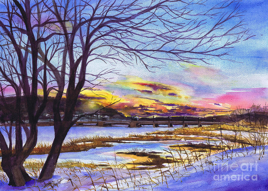 Sunset Painting - After The Blizzard Bayville by Susan Herbst