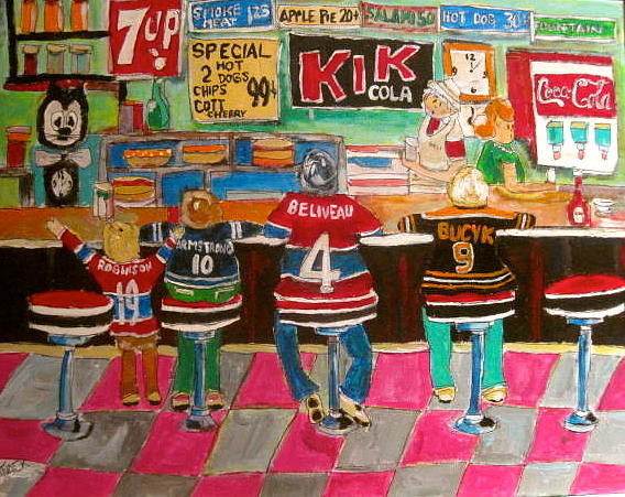 Hockey Sweaters Painting - After The Game by Michael Litvack