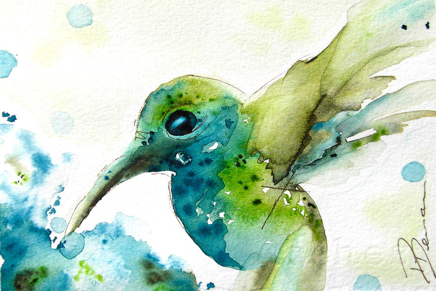 Hummingbird Painting - After The Rain by Dawn Derman