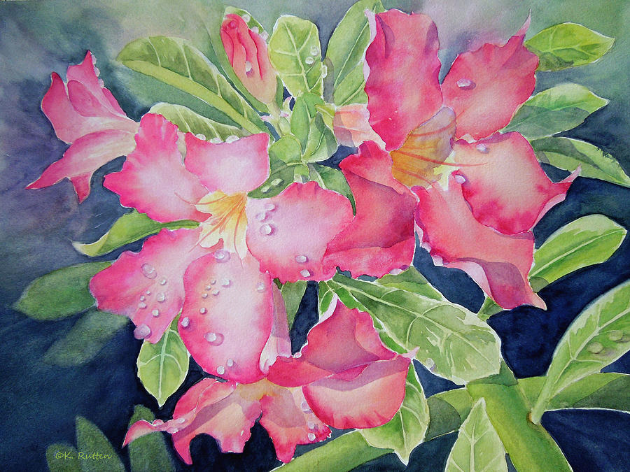 Tropical Flowers Painting - After The Rain by Kathleen Rutten