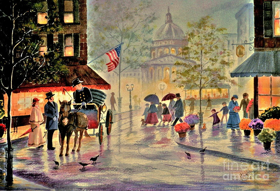 City Scene Painting - After The Rain by Marilyn Smith