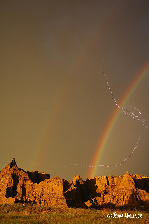 Badlands National Park Photograph - After the Storm - Lightning and Double Rainbow by Joan Wallner