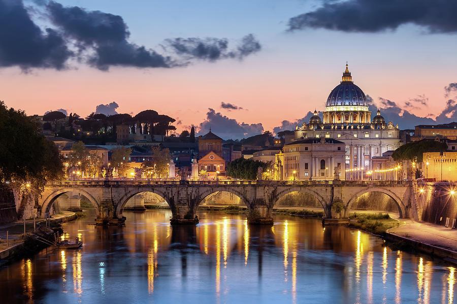 Afterglow, St Peters Basilica, Rome Photograph by Joe Daniel Price