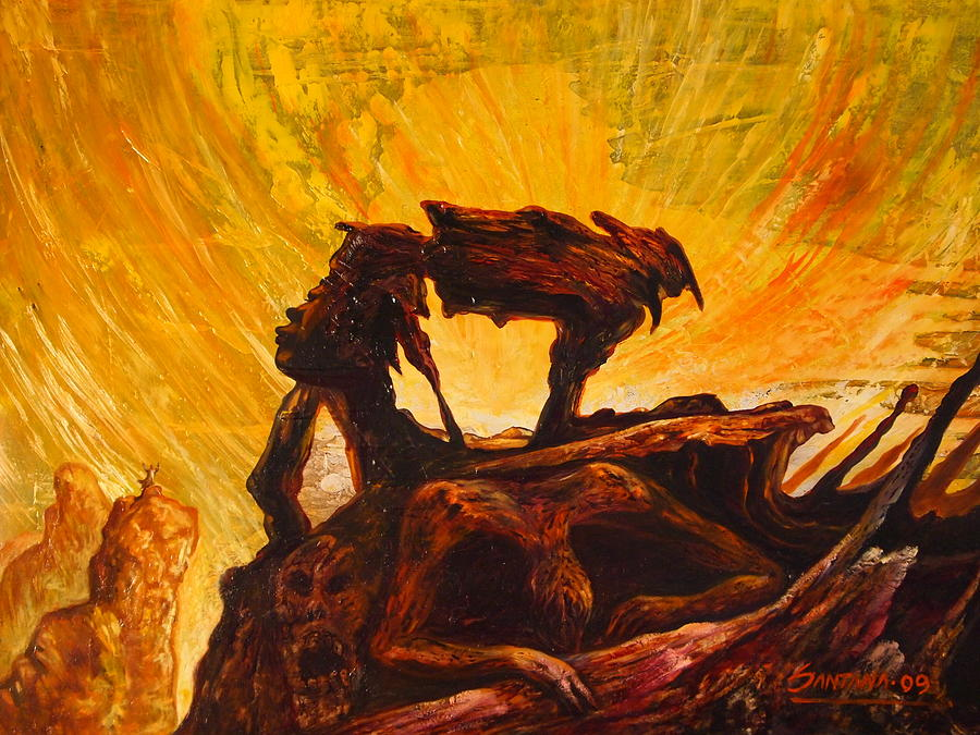 Dark Figures Painting - Aftermath by Dayna Reed
