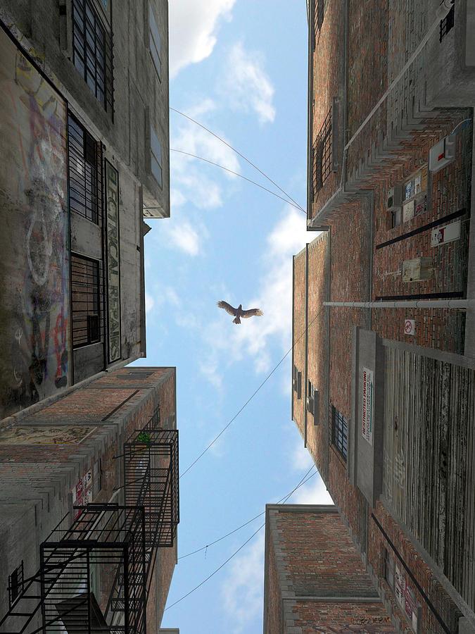 Urban Digital Art - Afternoon Alley by Cynthia Decker