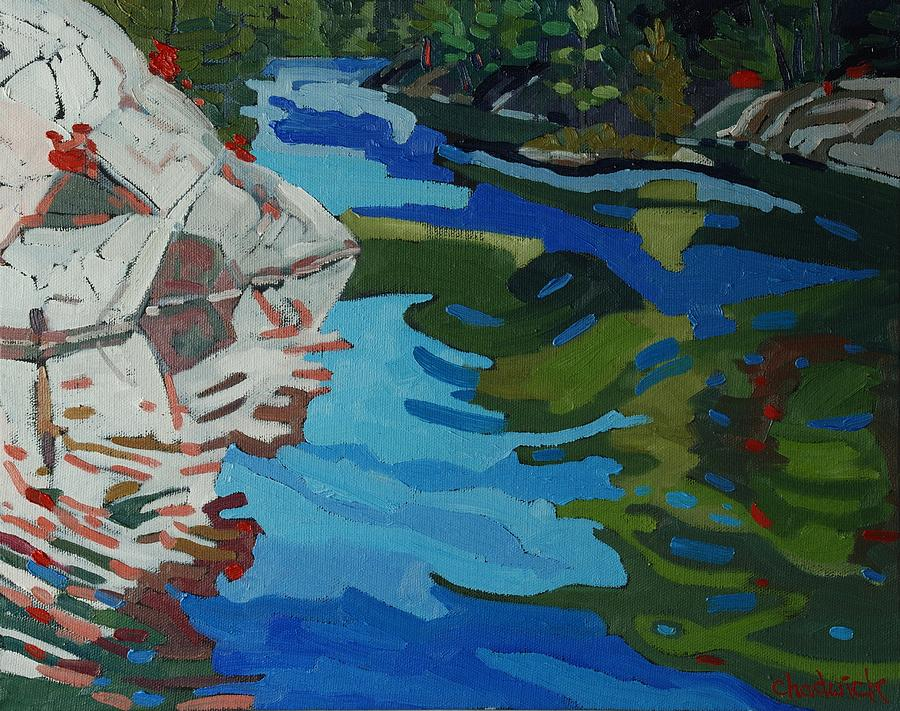 Rapids Painting - Afternoon At Frood Lake Outlet by Phil Chadwick