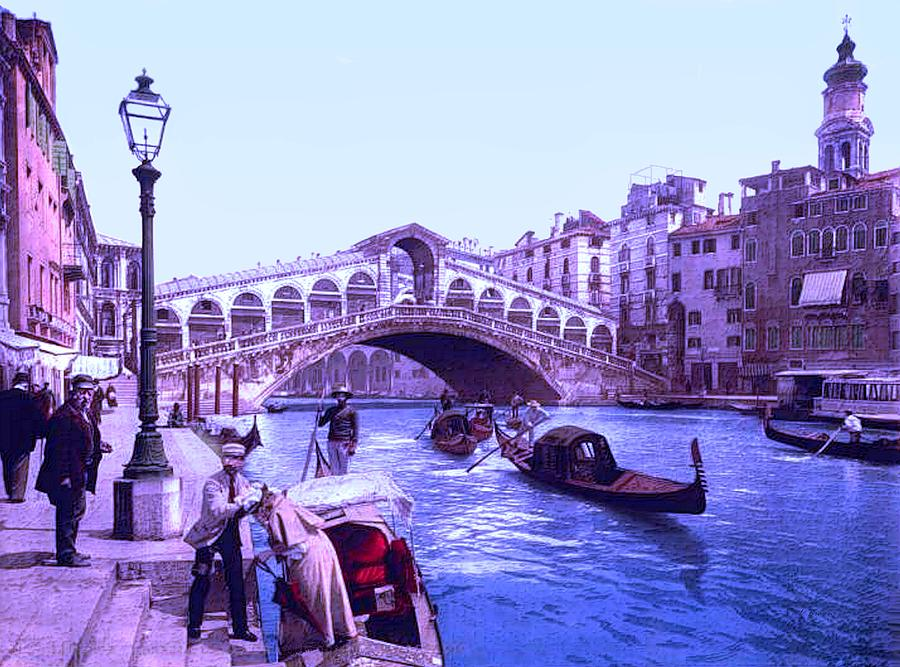 Afternoon At The Rialto Bridge Venice Italy II Painting by L Brown