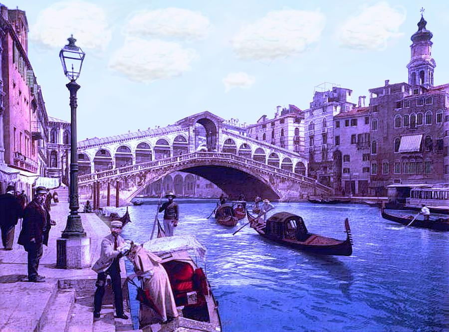 Afternoon At The Rialto Bridge Venice Italy Painting by L Brown