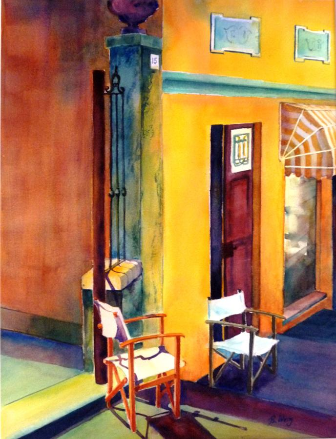 Chairs Painting - Afternoon Break by Betty M M   Wong