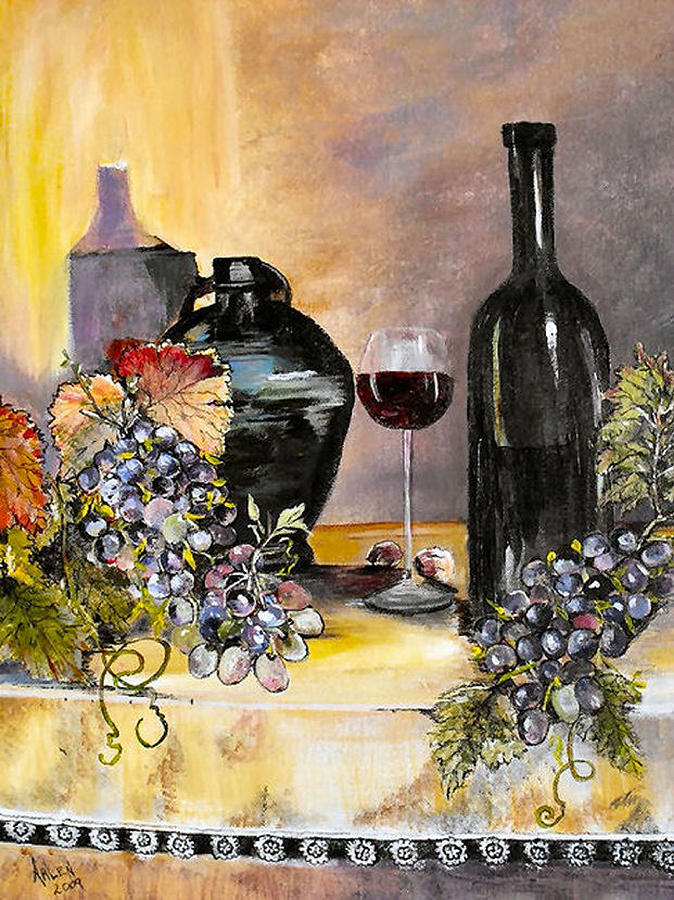 Grapes Painting - Afternoon Delight by Arlen Avernian Thorensen
