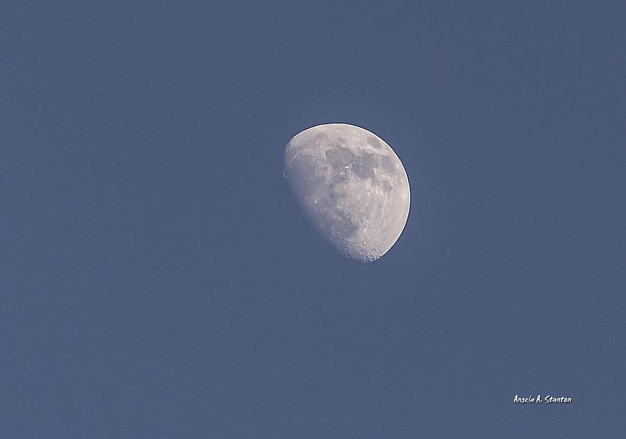 Moon. Half Moon Photograph - Afternoon Half Moon by Angela A Stanton