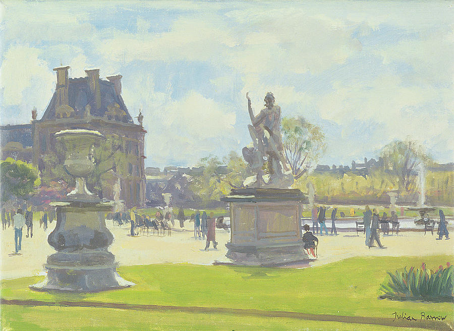 Parisian Photograph - Afternoon In The Tuileries, Paris Oil On Canvas by Julian Barrow