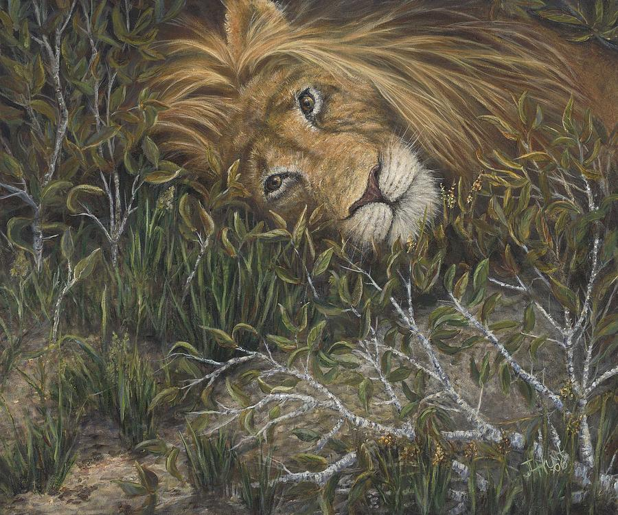 Lion Painting - Afternoon Nap by June Hunt