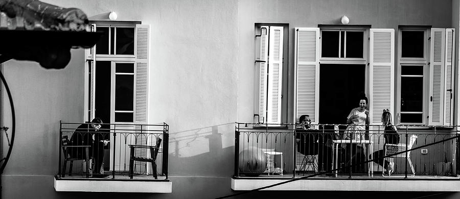 Street Photograph - Afternoon On The Balcony by Dov Amar