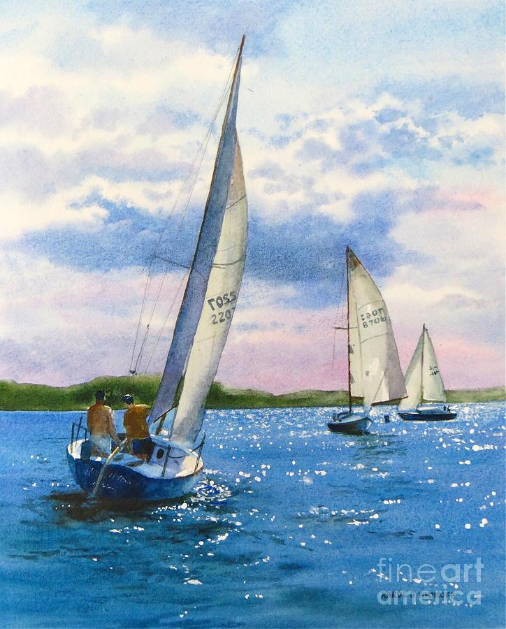 Clouds Painting - Afternoon Sail by Karol Wyckoff