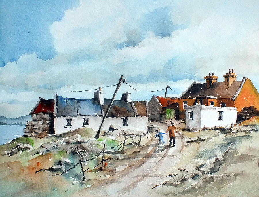 Val Byrne Painting - Afternoon Stroll In Dugort Achill by Val Byrne