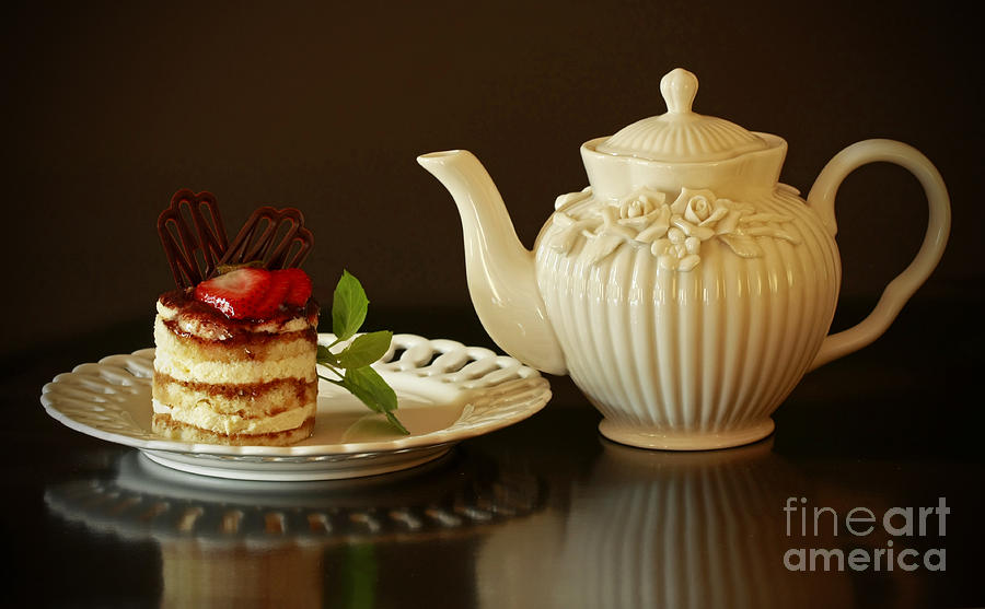 Tea Photograph - Afternoon Tea And Tiramisu by Inspired Nature Photography Fine Art Photography
