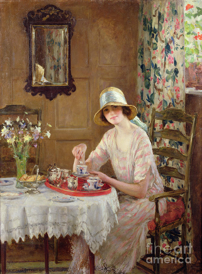 Woman Painting - Afternoon Tea by William Henry Margetson