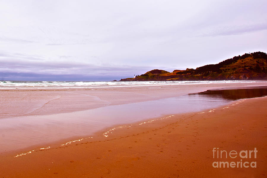 Agate Beach Oregon Photograph - Agate Beach Oregon With Yaquina Head Lighthouse by Artist and Photographer Laura Wrede