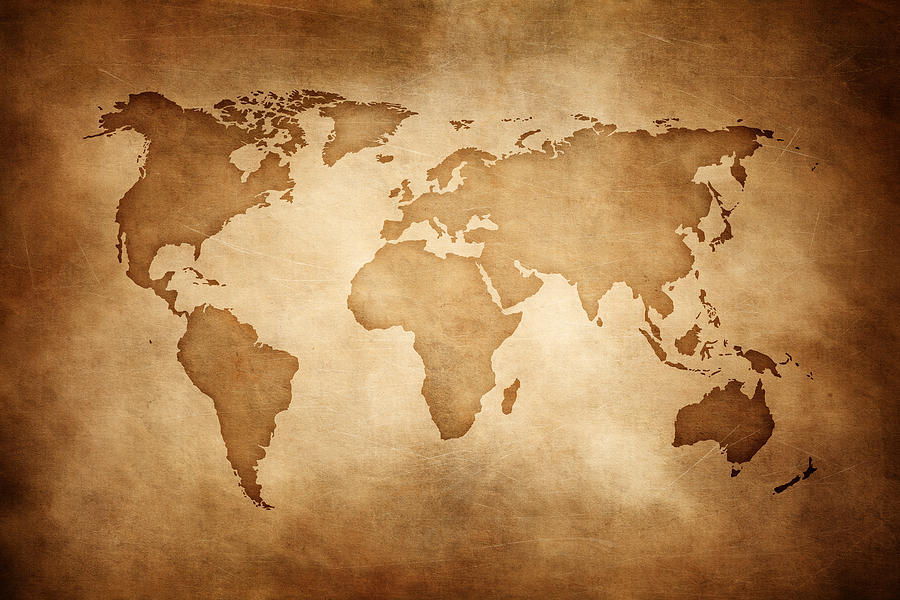Aged style world map, paper texture background Photograph by Sankai