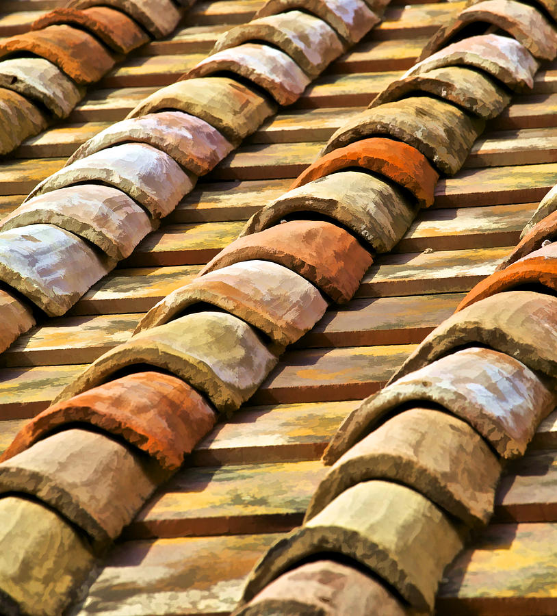 aged terracotta roof tiles ii photograph by david letts