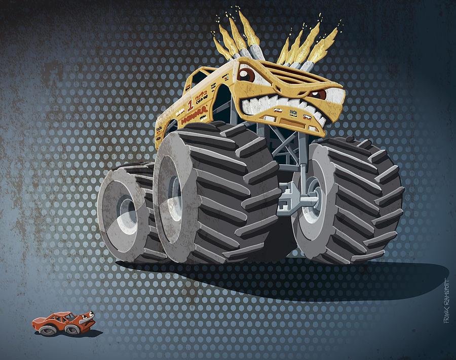 Monster Truck Digital Art - Aggressive Monster Truck Grunge Color by Frank Ramspott