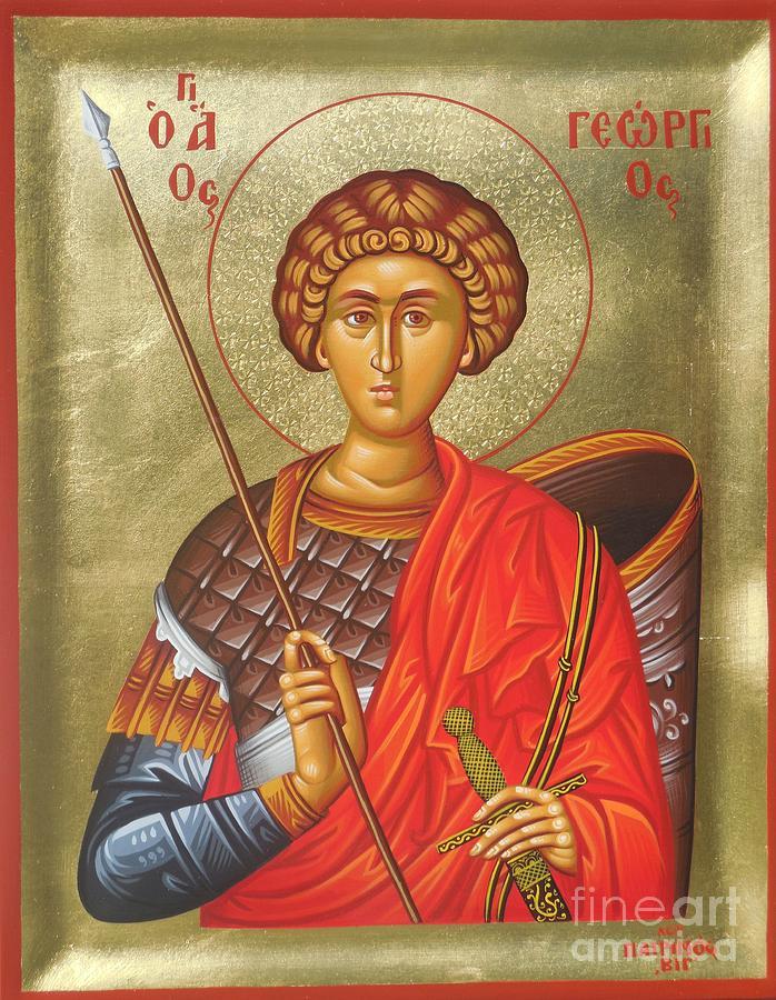 Greek Painting - Agios Georgios - Saint George by Theodoros Patrinos