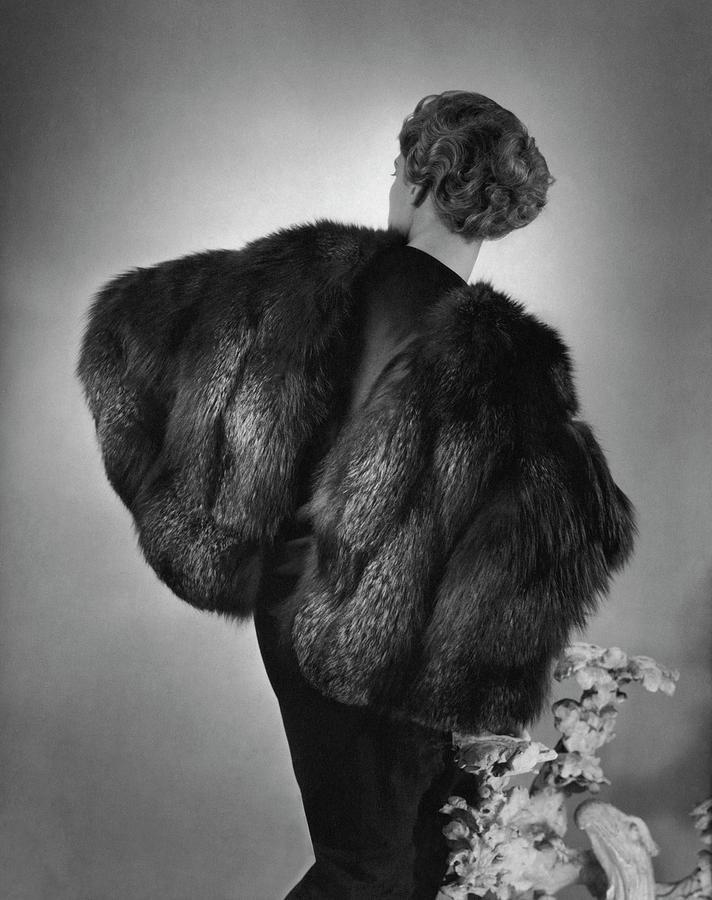 Agneta Fischer Wearing A Augustabernard Cape Photograph by Horst P. Horst