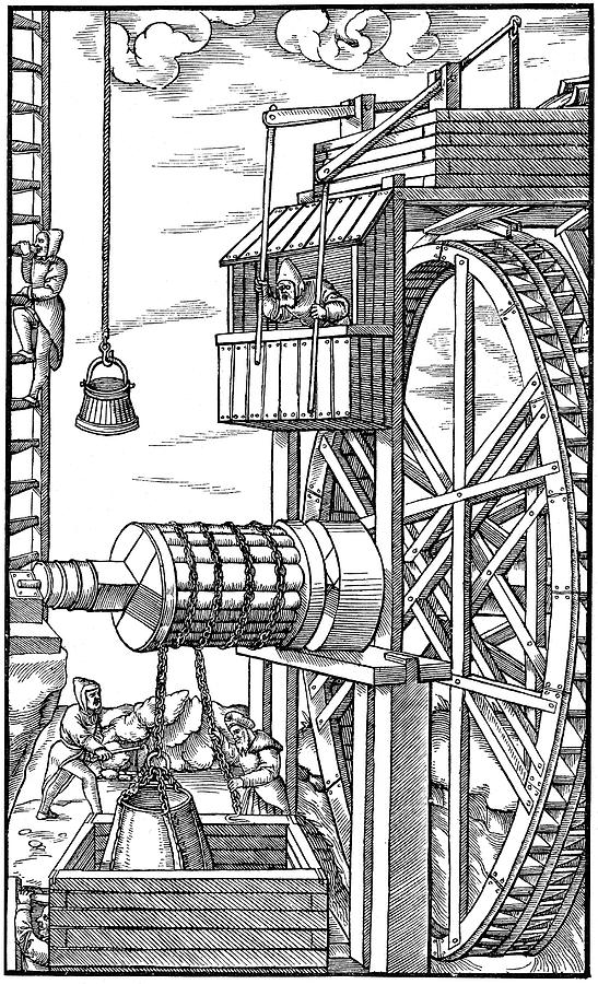 1556 Drawing - Agricola Water Pump, 1556 by Granger