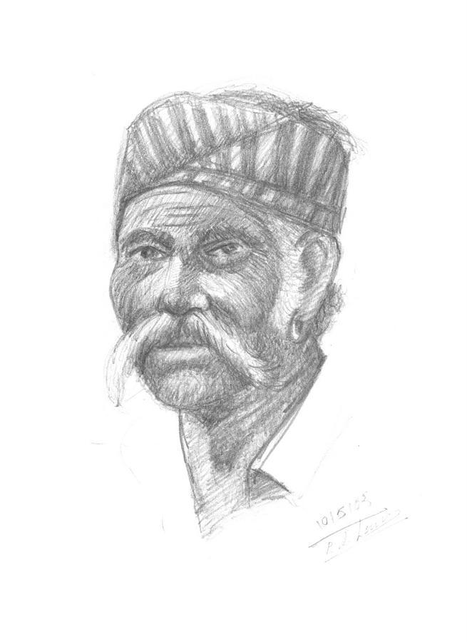 Portrait Drawing - Agriculture Men by Prakash Leuva