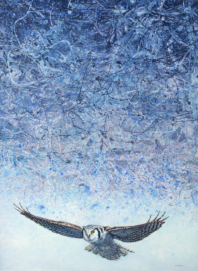 Owl Painting - Ahead Of The Storm by James W Johnson
