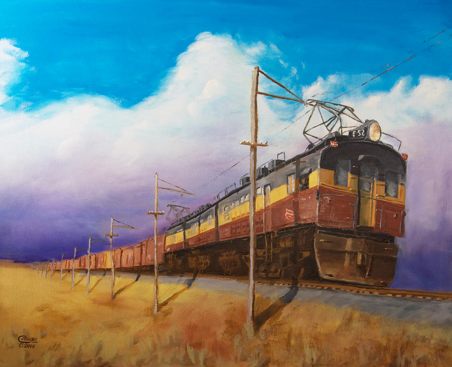Electric Locomotive Painting - Ahead Of The Weather by Christopher Jenkins