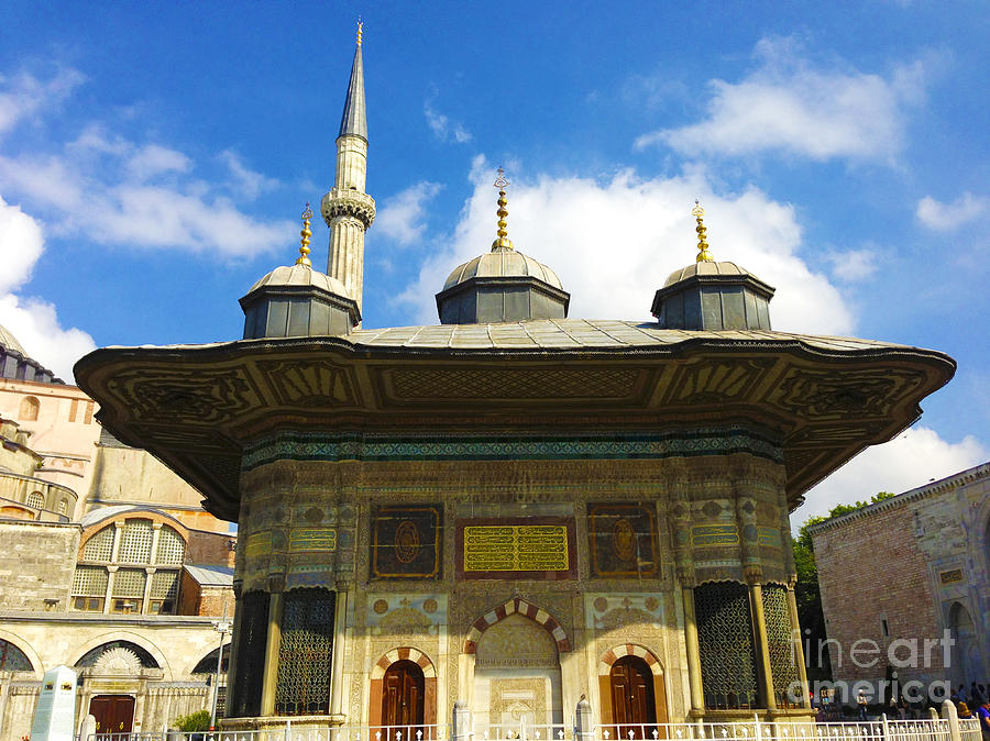 Istanbul Photograph - Ahmet II Fountain Next To Topkapi Palace Main Entry With A Minaret Of Hagia Sophia Palace Istanbul  by Ralph A  Ledergerber-Photography