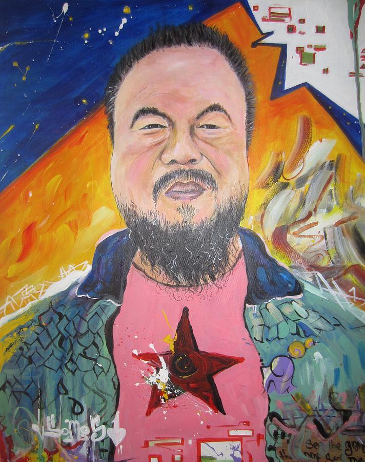 Portrait Painting - Ai Weiwei by Erik Franco