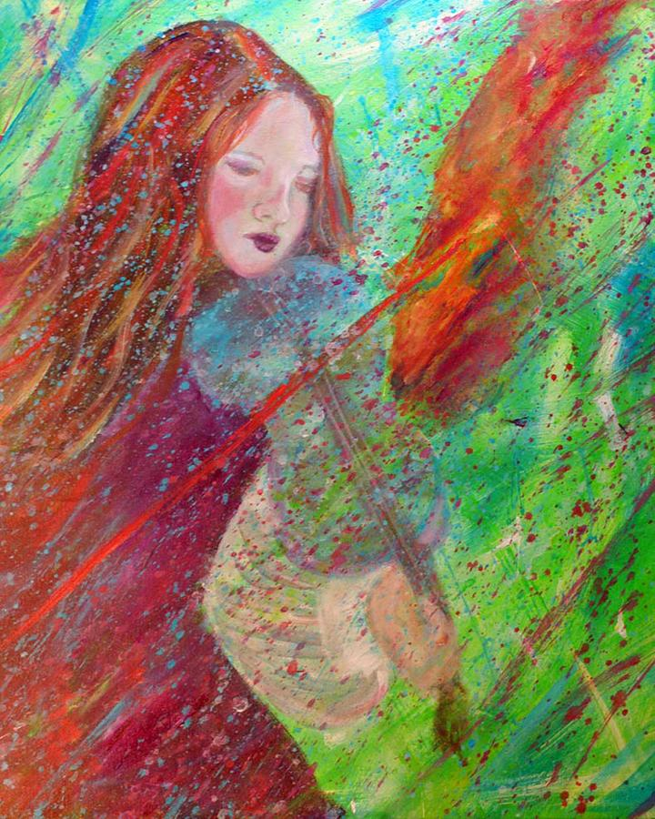 Violin Player Painting - Aiden The Girl On Fire by The Art With A Heart By Charlotte Phillips
