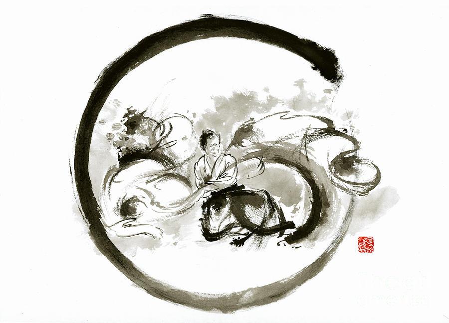 Aikido Enso Circle Martial Arts Sumi E Original Ink Painting Artwork Painting By Mariusz Szmerdt