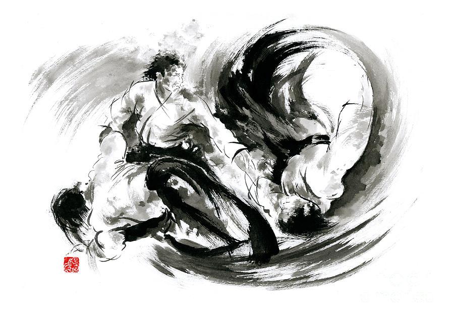 Aikido Randori Fight Popular Techniques Martial Arts Sumi-e ...