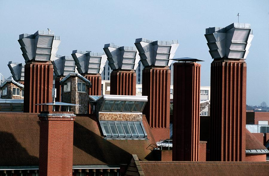 Building Photograph - Air Conditioning Chimneys by Thierry Berrod, Mona Lisa Production/ Science Photo Library