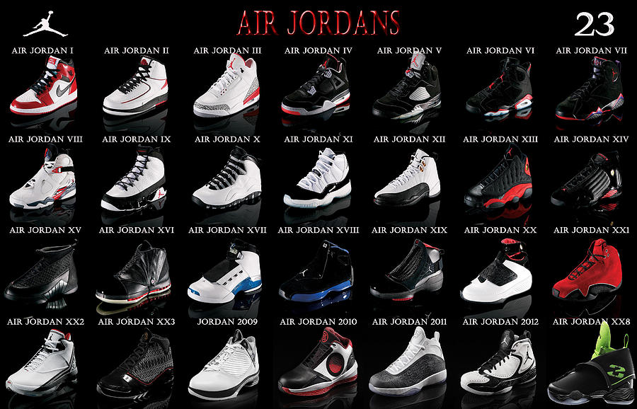 Michael Jordan Digital Art - Air Jordan Shoe Gallery by Brian Reaves