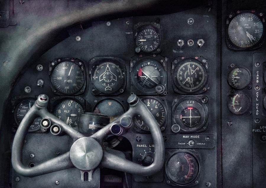 Framed Photograph - Air - The Cockpit by Mike Savad
