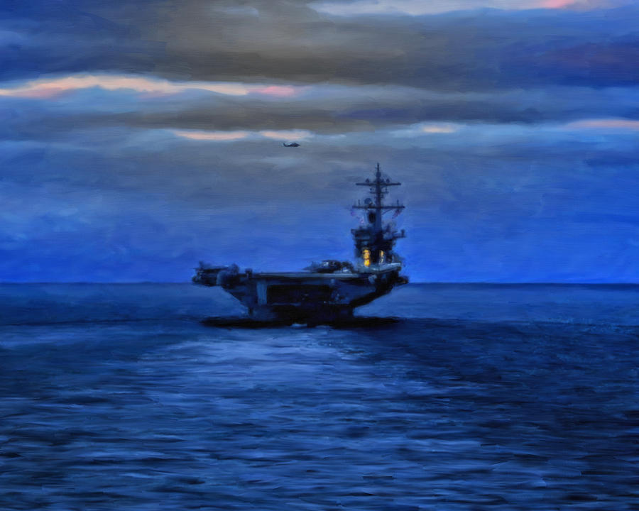 Blue Painting - Aircraft Carrier by Michael Pickett