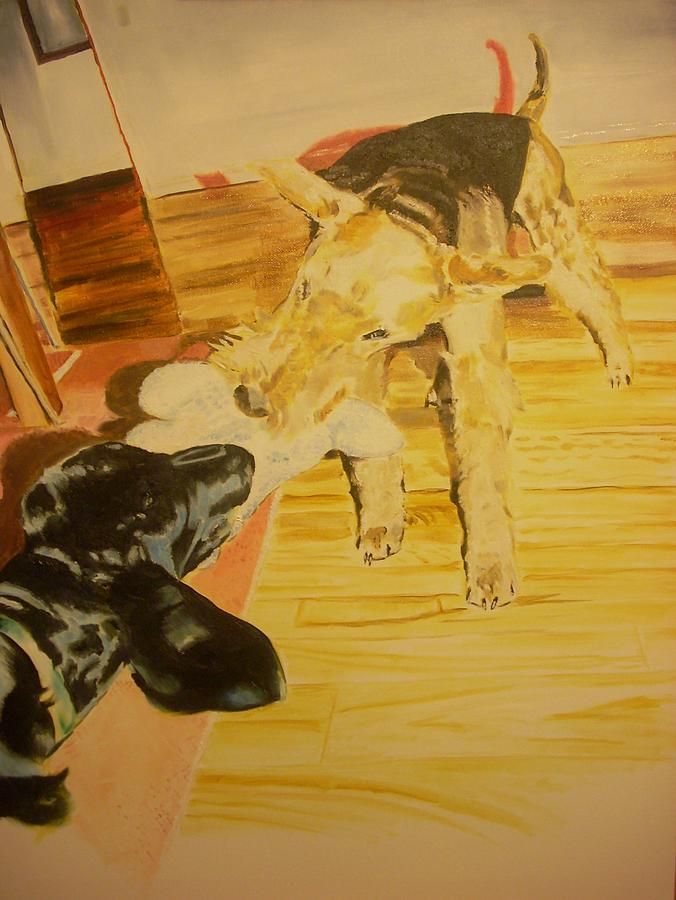 Airedale Painting - Airedale Vs Large Poodle by Ruben Barbosa